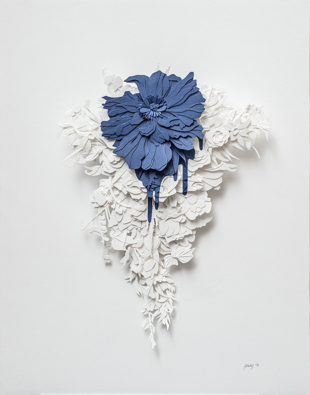 "Bleed in Blue | cut paper and glue | 11"" x 14"" 