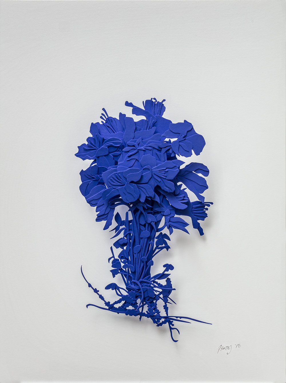 "Cobalt Explosion | cut paper, glue, and water based spray paint | 8.75"" x 11.75"" 