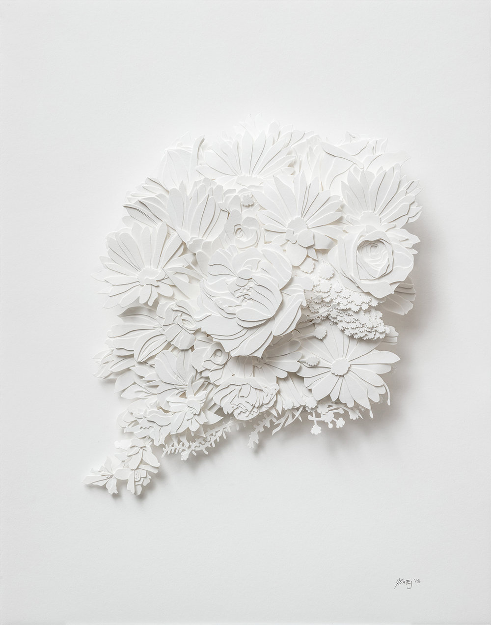 "Memento Explosion | cut paper and glue | 11"" x 14"" 