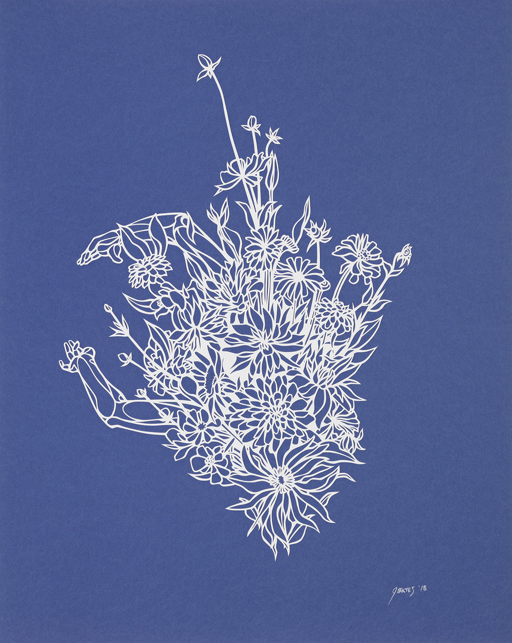 "Untitled (Blue) | cut paper and glue | 16"" x 20"" 