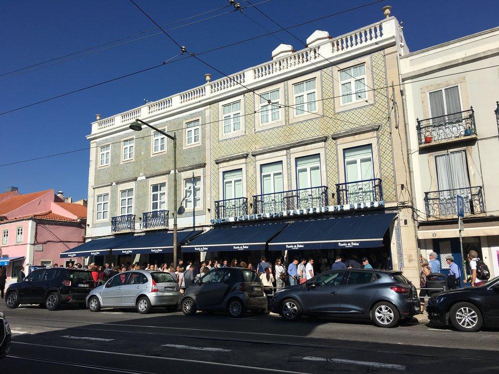 The line outside of Pastéis de Belém, selling their famous pastries since 1837.