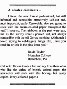 Figure 1: Comment from December 1998 Issue of The Writing Lab Newsletter