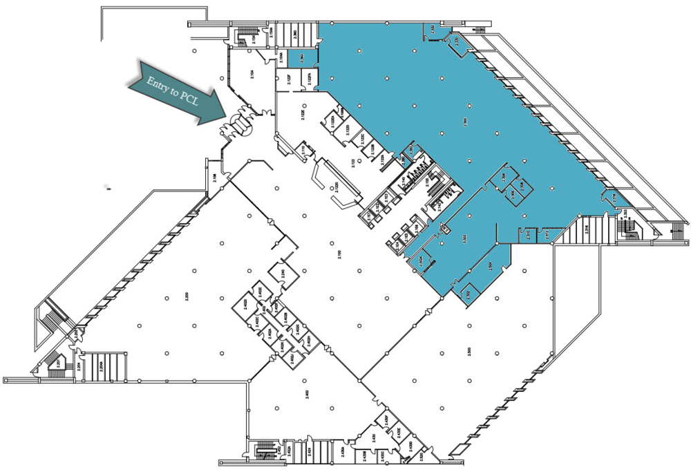 Perry-Castañeda Library Learning Commons (in blue), Ground Floor Plan