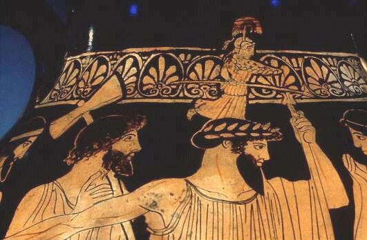 Athena springs from Zeus's head.  (photo credit: http://www.goddess-athena.org/Museum/Paintings/Birth/Birth_of_Athena_London_E_410_f.htm