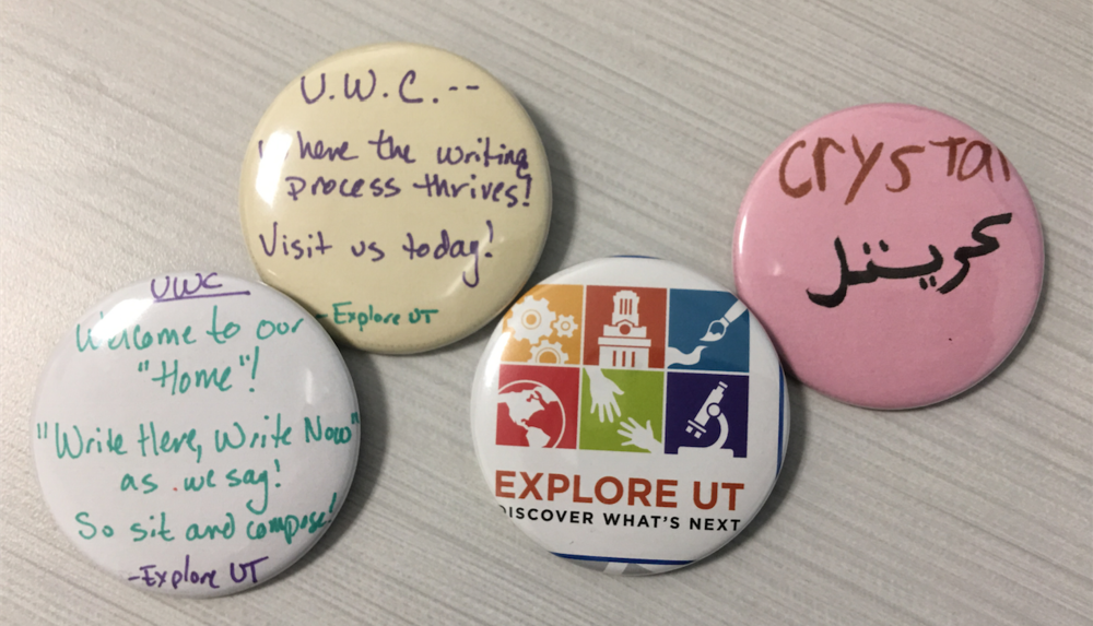 Buttons from this year's 2017 Explore UT event!