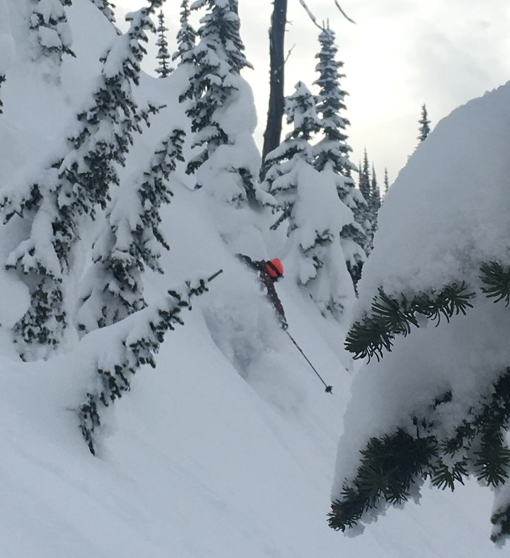 And there he is on the down, Matt Kennedy (his photo, left), getting the goods on one of our best days at Ymir.