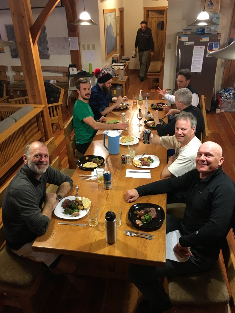 Another gang of tired, well fed skiers at Kokanee Cabin. Tom and Rob had the good fortune to work there together in 2016.
