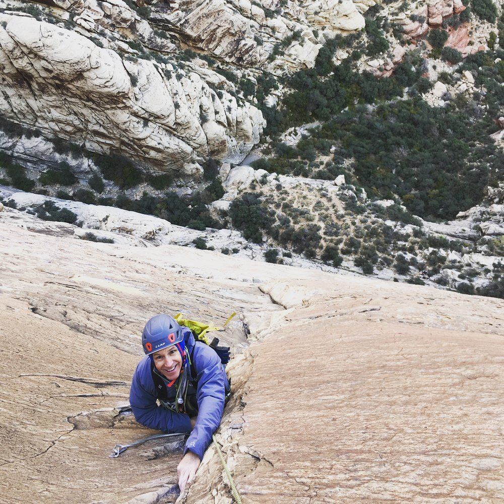 Dr. Lee, psyched and way off the deck on  Dream of the Wild Turkeys  (5.10), Red Rock.