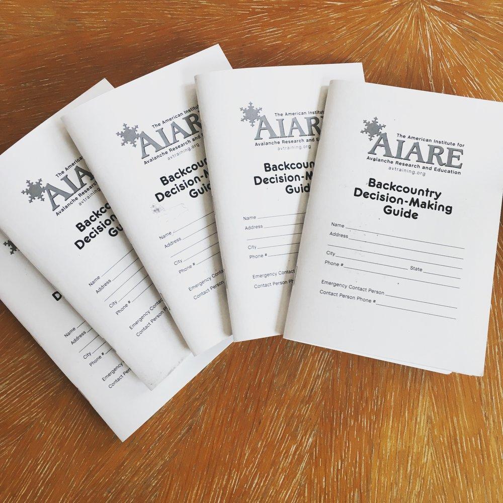 The new AIARE fieldbook