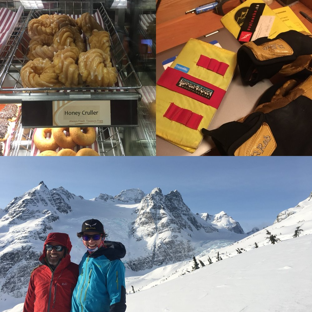 The beloved Tim Horton's Honey Cruller (upper left); a planning session (upper right); and stoked clients above the Burnie Glacier Chalet.