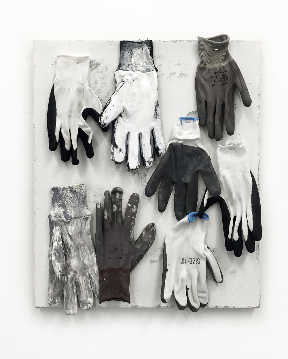 "Of Workman , 2016 Oil, latex, gloves, canvas 20"" x 24"""