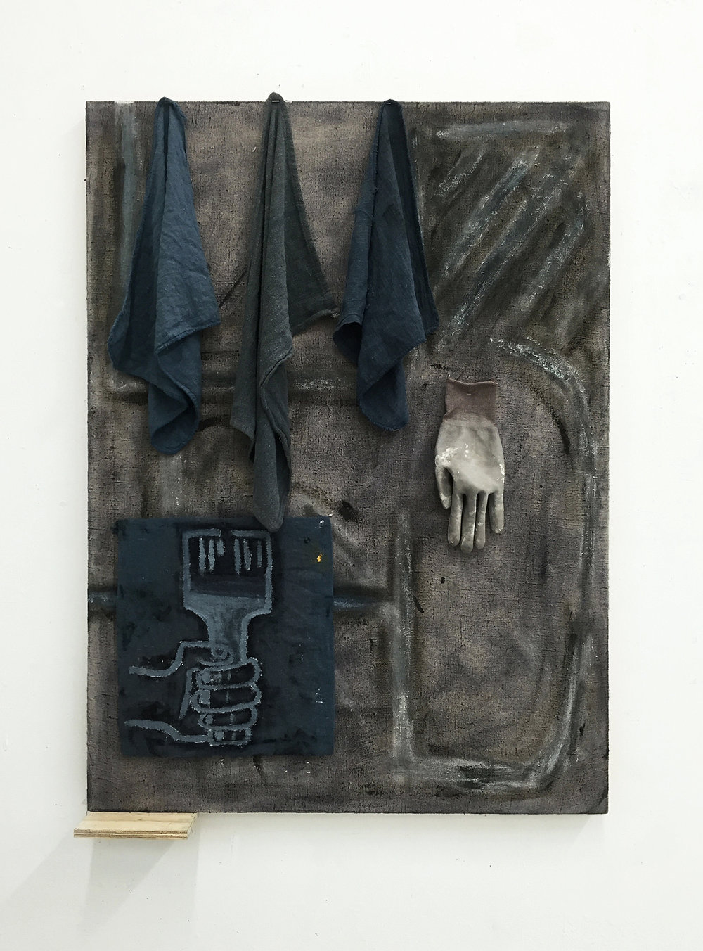"Untitled , 2016 Oil, rags, glove, cardboard, wood, linen 30"" x 40"""