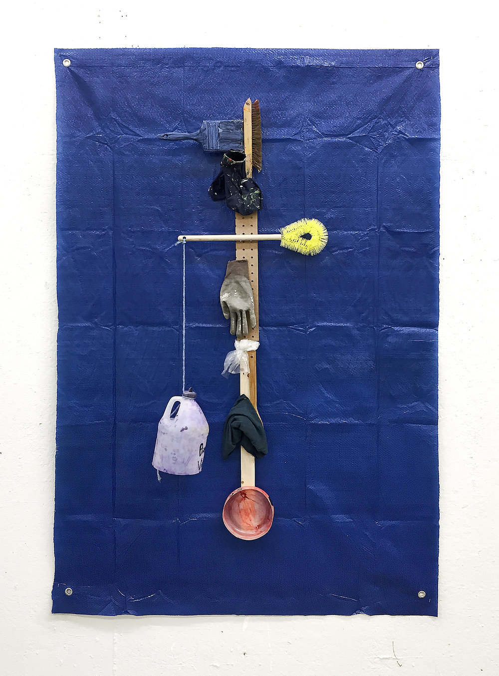 "Work on Grid , 2016 Wood, paint brushes, oil, acrylic, toilet brush, glove, plastic, rags, cotton, tarp 48"" x 72"""