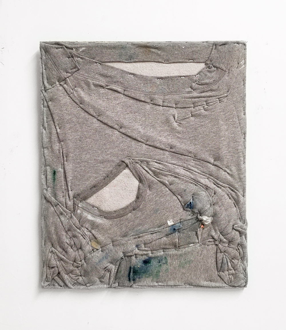 Oil on Sweatshirt , 2017 Oil, sweatshirt on wood 20in x 24in