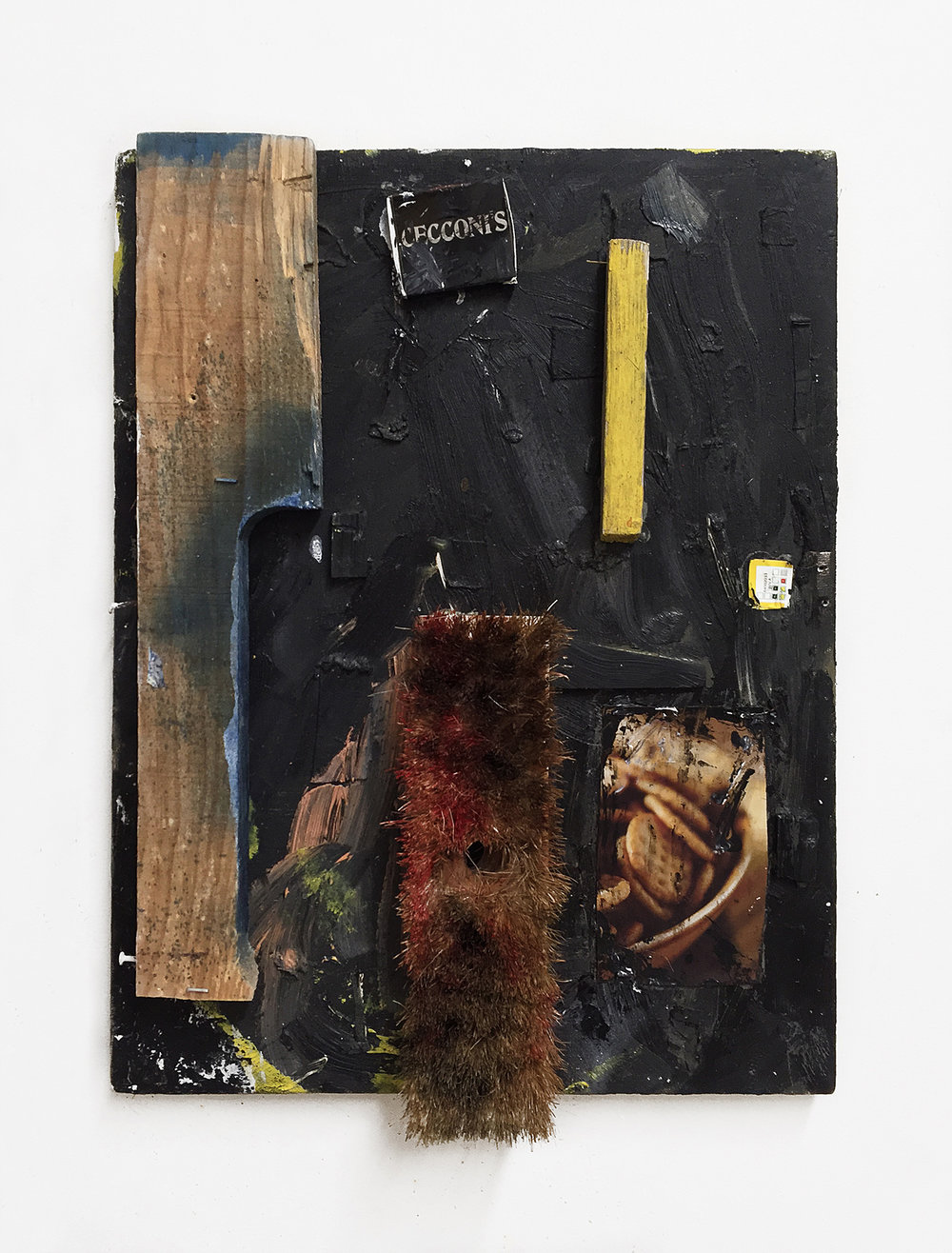 Untitled (Pull, Broom, Crackers) , 2018 Oil, wood, broom, matchbook, cardboard, cracker box, canvas 14in x 18in