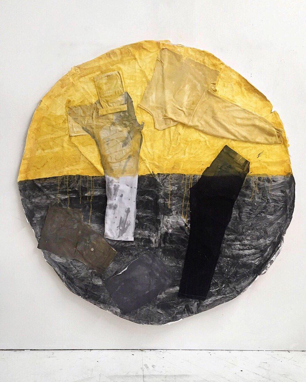 Melting Sun , 2018 Acrylic, shirts, pants, paper, umbrella 65in x 65in