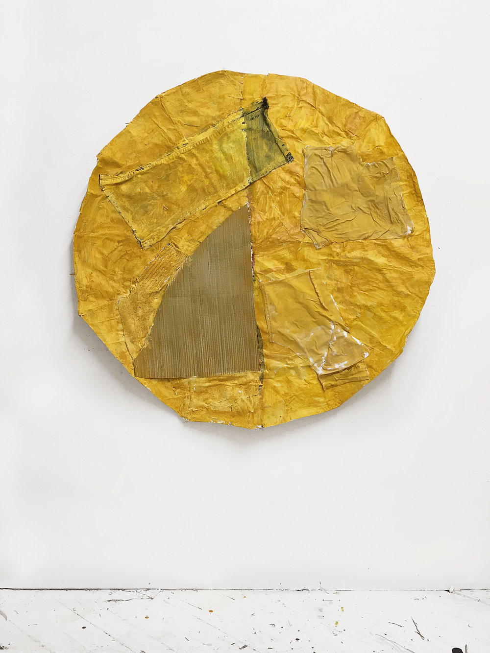 Tatami Sun , 2018 Acrylic, tatami mat, pants, shirts, paper, umbrella 48in x 48in