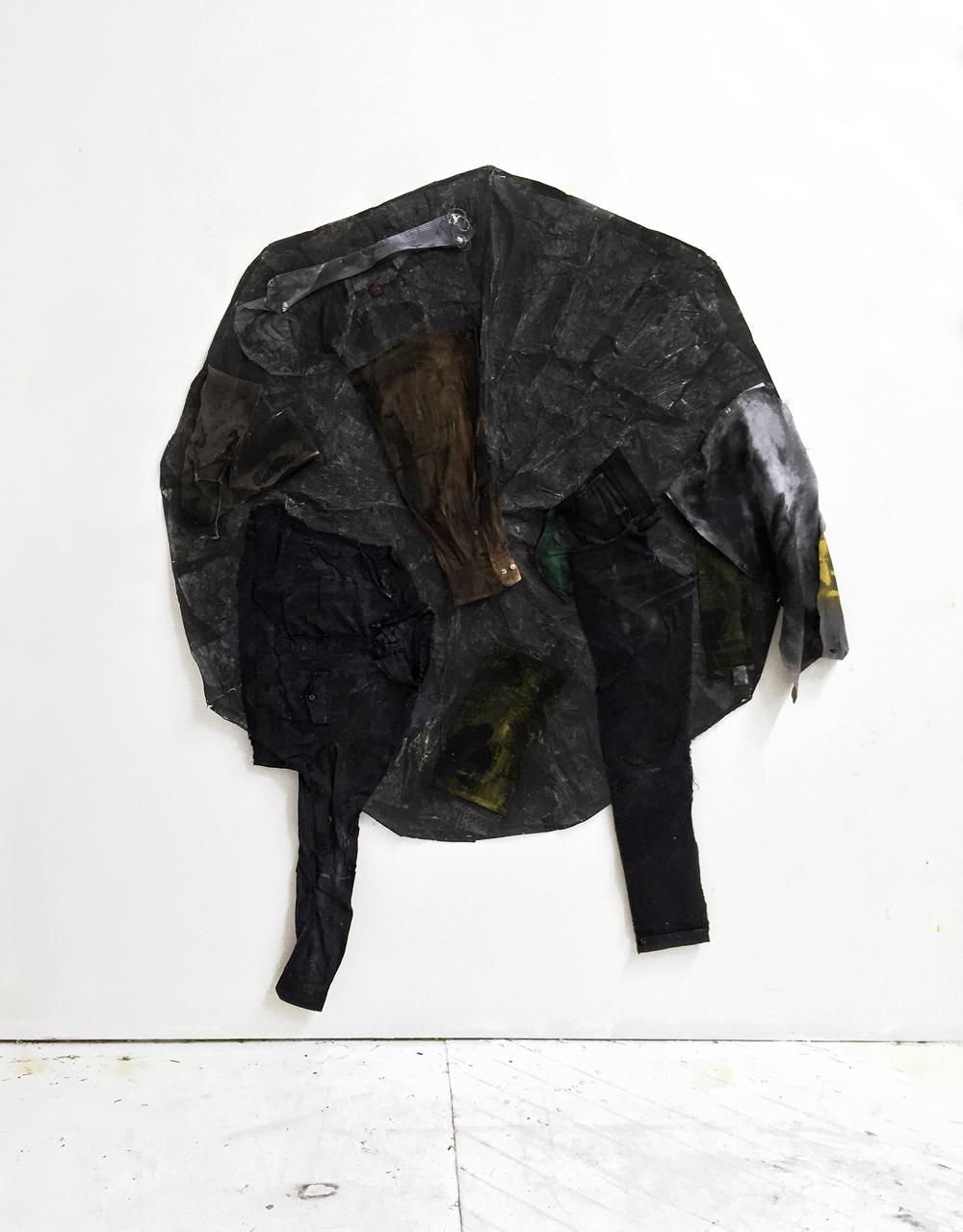 Yamada no Sohodo , 2017 Oil, acrylic, pants, shirts, paper, umbrella 53in x 70in