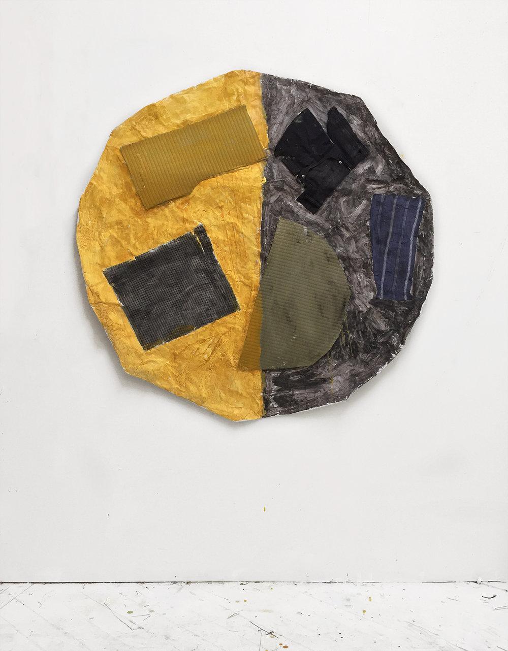 Moon , 2018 Acrylic, watercolor, latex, tatami mat, pants, yukata, paper, umbrella 48in x 48in
