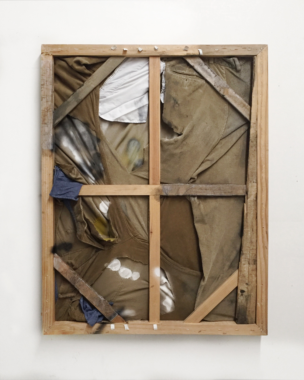 Kuebiko (Skin against linen, the purr of straight-leg trousers, and curious stains),  2018   Oil, spray paint, house paint, corduroy trousers, paper, wood   30in x 40in