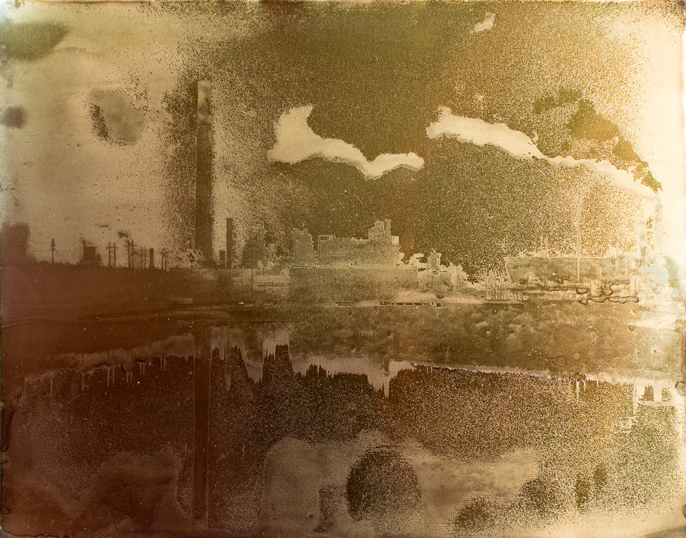 "Syncrude Plant and Tailings Pond Reflection.   8""x10"" petrograph on aluminum.  V. 1, 2014."