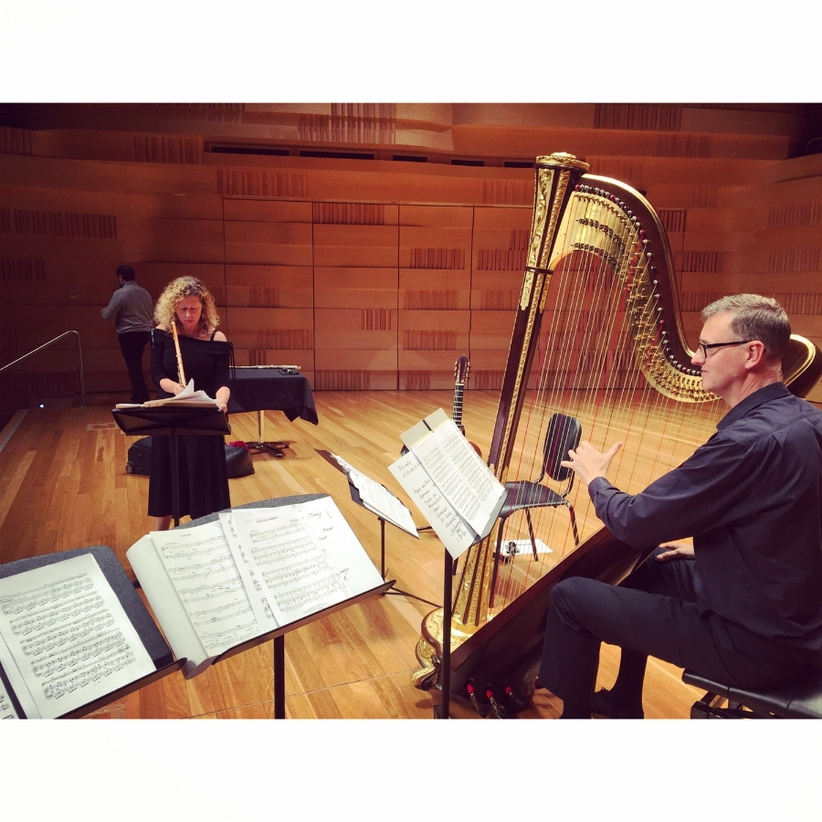 Jane Rutter and harpist Owen Torr