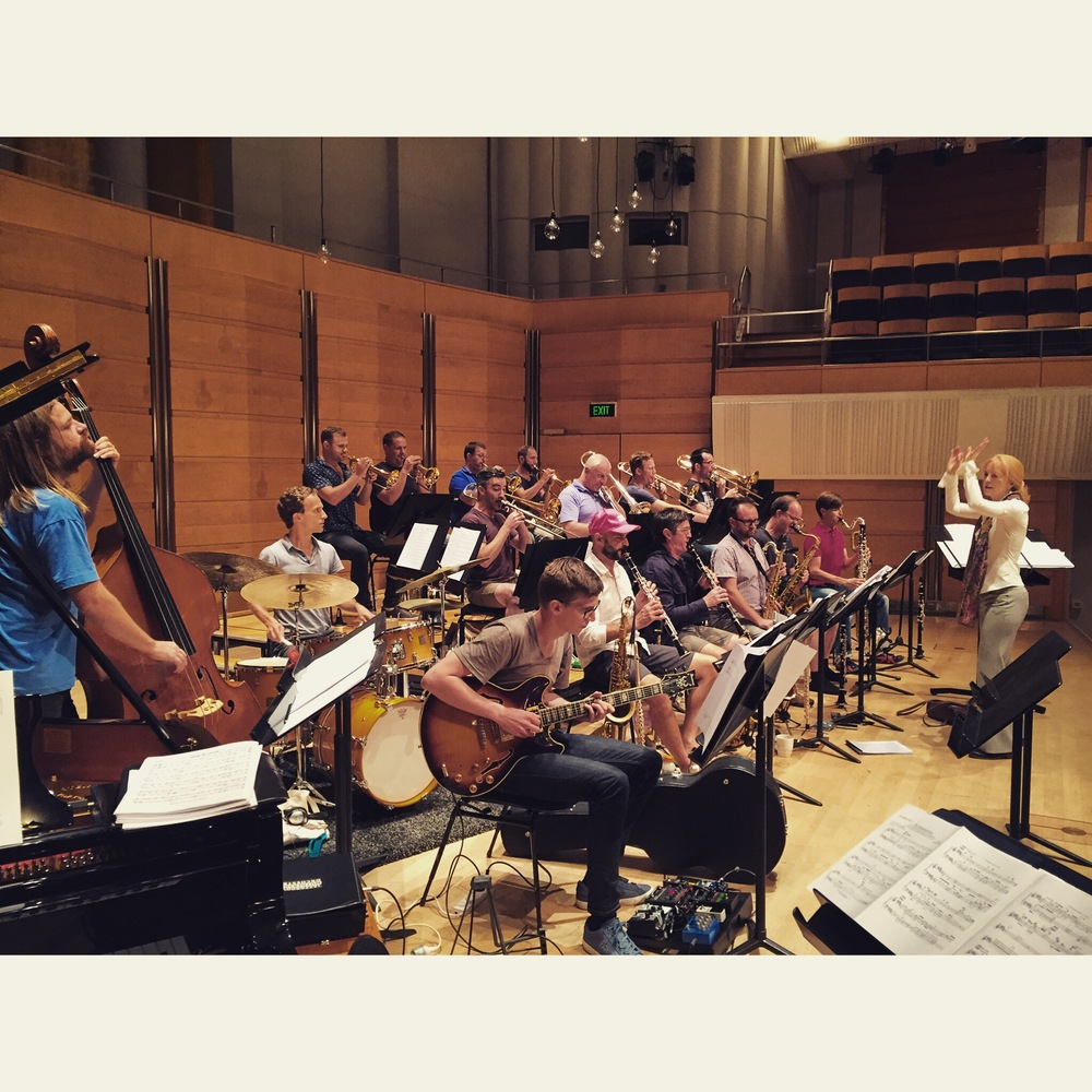 Rehearsals underway with master composer Maria Schneider and the Jazzgroove Mothership Orchestra.