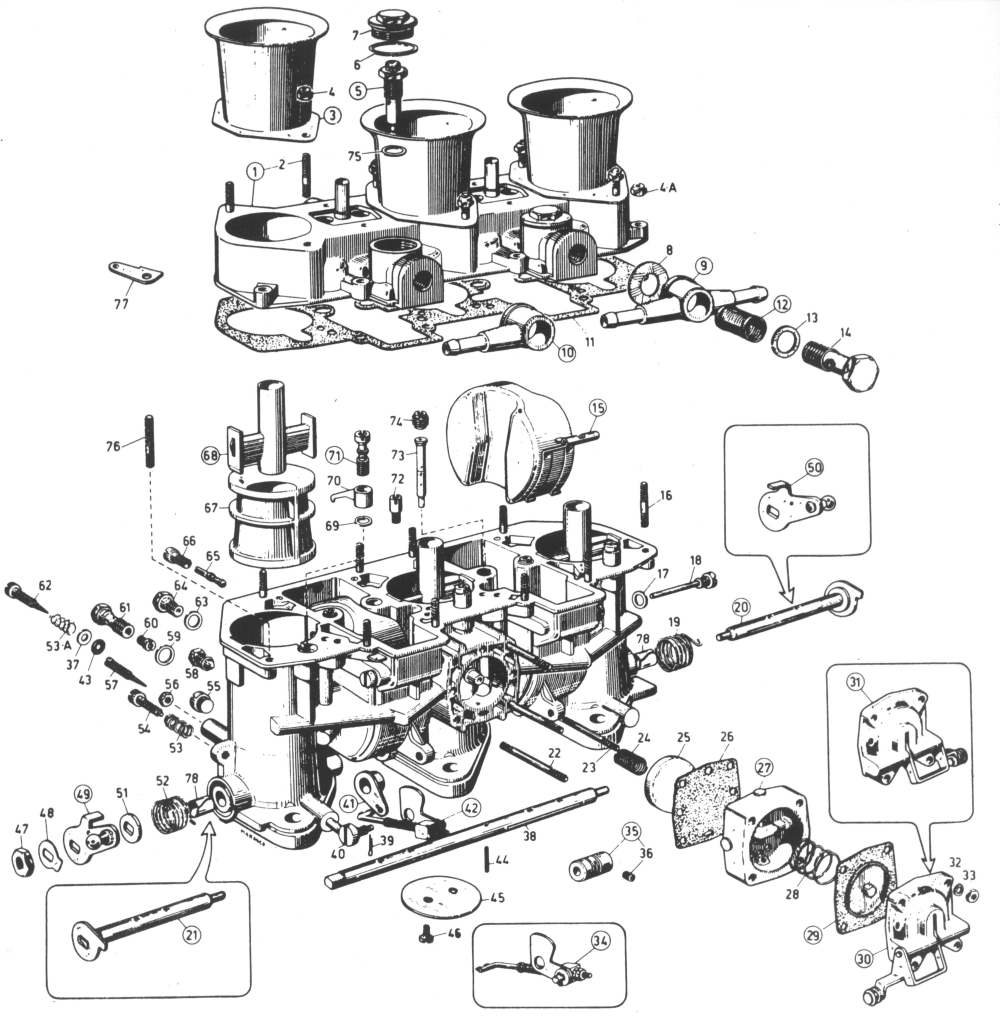 Weber 40IDA3C carburetor parts identification drawing.