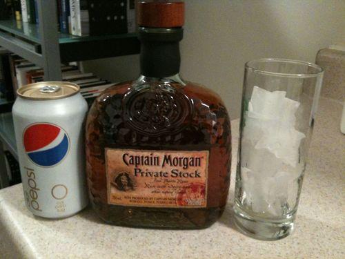 Nightcap: Captain Morgan Private Stock, caffeine free Diet Pepsi, ice.
