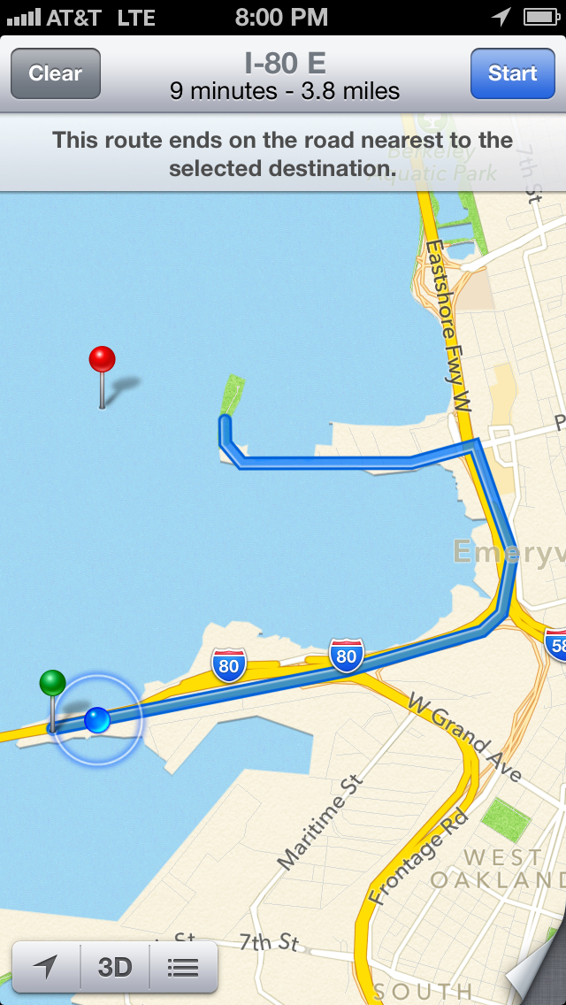 Better rent a boat to get to this restaurant. Yay Apple Maps.