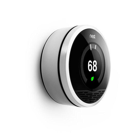 Nest Learning Thermostat Gorgeous. Too bad I live in Palo Alto where a thermostat isn't necessary.