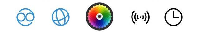 Hot newColorapp I think these icons could be improved to prevent confusion. The center one is powerful, so I (safely) assume it's the *action* button (take a picture). UPDATE: After several minutes of play, the center icon is also used for joining groups! Doubling up on functionality, eh Color? Here's an interesting interaction design decision: Color, in my opinion, is failing the play/pause problem. Should a button's icon be a status or an action? Color chose icons to represent status, but those icons are also used for navigation. I think this leads to a poor user experience.