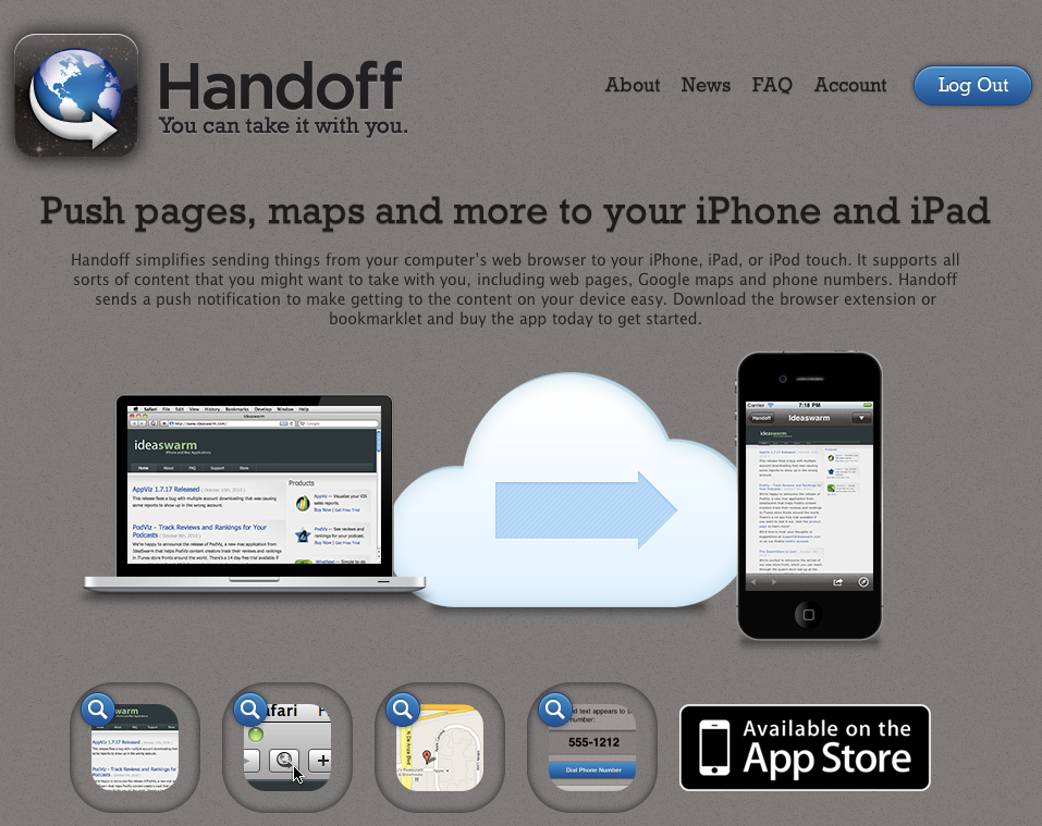 Handoff - My New Favorite iPhone App & Google Chrome Extension Handoff is a quick way to send stuff from your desktop web browser to your iPhone. Definitely worth $1.99. The experience is smooth compared to the free workaround tricks others have devised. Also, I'm aware this is a built-in feature on Android phones and I'm jealous.
