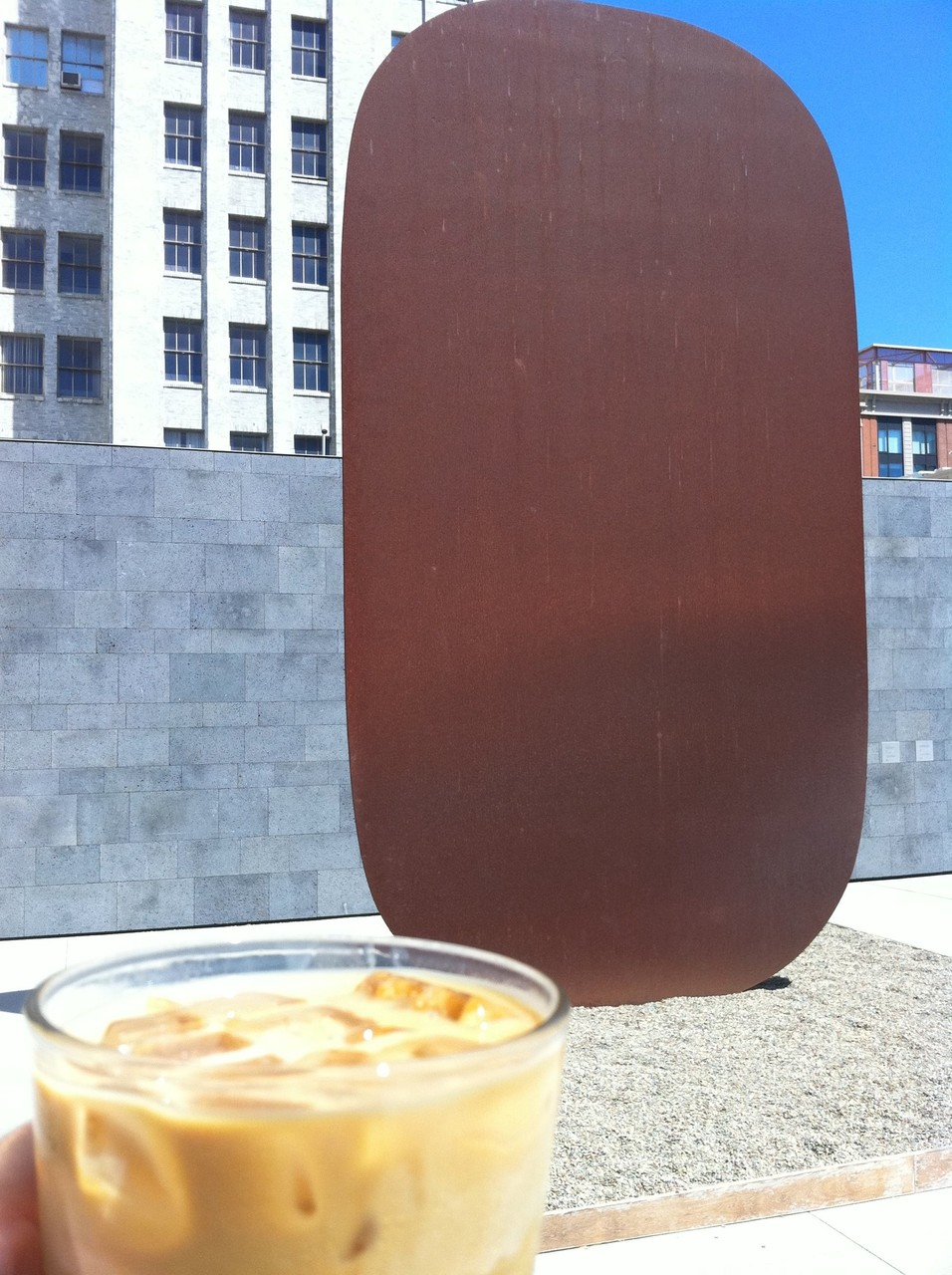Enjoying a Blue Bottle New Orleans at SF MOMA