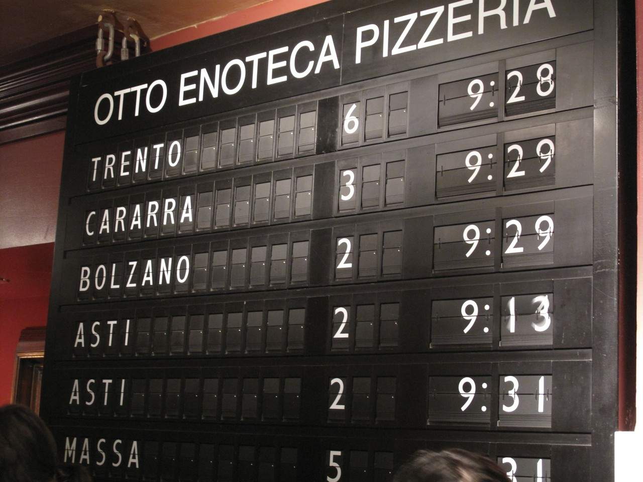 Wait times at Otto Otto Enoteca Pizzeria has an awesome display for how long parties have to wait for tables. Definitely worth checking out if you're in Greenwich Village. http://www.ottopizzeria.com/home.cfm