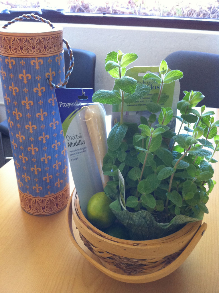 Birthday present from the Boss Rum, muddler, measuring shot glass, limes, and mint plant. He knows I love making mojitos.