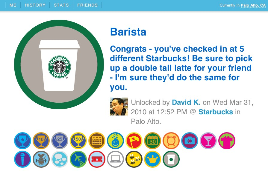Barista Foursquare badge I like Starbucks more than you.