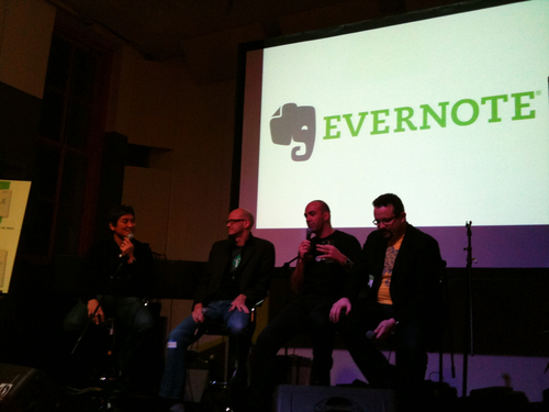 """Evernote Notable Tech Event: I caught a ride with Caroline and Ziv, two Eye-Fi employees, to check out the Evernote Notable Tech Event at 111 Minna Gallery in SF. I didn't realize Evernote's service had been integrated into so many other products. It was cool seeing how other companies are increasing the value of their products by including the ability to link data to Evernote. The panel, titled Managing Competition in Tech, was moderated by Guy Kawasaki (wow you really see this guy everywhere when you attend tech events), and the panelists were Phil Libin, Loic Le Meur, and Adeo Ressi. Here are my takeaways from the panel: Good VCs don't sign NDAs Do the opposite of what your feelings tell you to do Do what you love Make your great product - ignore your competitors Meet your competition And a special lecture on TechCrunch's lack of importance: Coverage on TC = ~1500 users 90% are gone 2 days later Remaining 10% become your alpha users - use them to grow your product Lastly, Loic introduced himself by saying, """"Hi my name is at Loic."""" He was also wearing a shirt that said """"@loic"""" on it."""