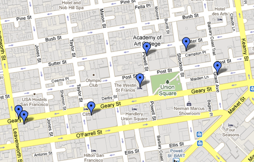 """How to get the Socialite badge on Foursquare: I put together this Google Map as an itinerary to achieve the Socialite badge in San Francisco on Foursquare. It's focused around the downtown Union Square area. It was an awesome night. When I got the badge the congratulatory message was: """"Keep this up and you're going to end up on Valleywag with Julia Allison."""" Clever. The bars/hotels: Campton Place Hotel Clift Hotel's Redwood Room Clock Bar Harry Denton's Starlight Room Otis Rye The Ambassador Of course the list can change every day since anyone can add or remove tags to venues. maps.google.com/maps/ms?ie=UTF8&hl=en&msa=0&m… I also put together a map for the SOMA area: maps.google.com/maps/ms?ie=UTF8&hl=en&msa=0&m…"""