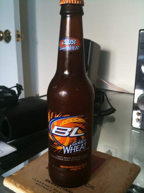 Bud Light Golden Wheat: New from Budweiser. Tolerable.