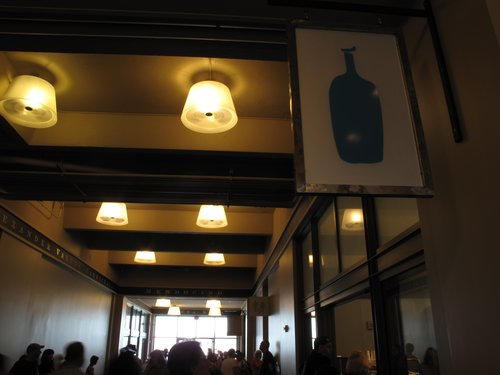 Blue Bottle secret: Blue Bottle has a new location in the Ferry Building. There's a secret opening with a shorter line in the hallway where you can order basic drinks (non-espresso). This includes my favorite: New Orleans Iced Coffee.