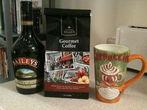 Tori's nightcap: Includes decaf coffee and Baileys Irish Cream. In this case the decaf coffee is a vanilla nut creme. Delicious! Thanks, Tori.