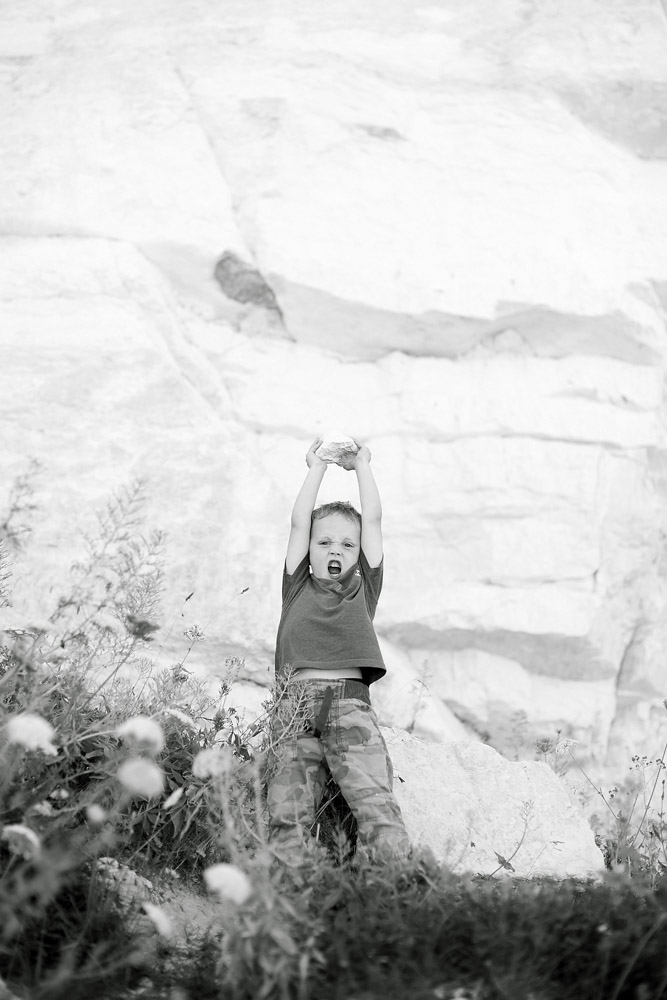 boy with rock