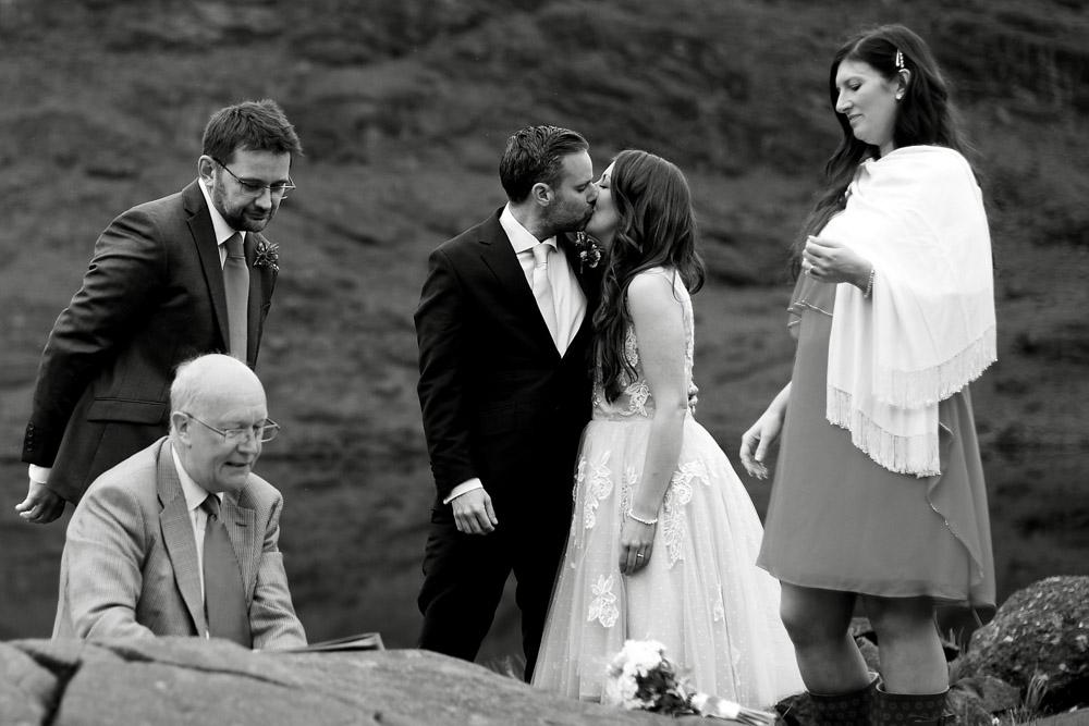Skye wedding kiss
