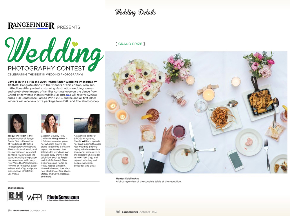 Grand Prize Winer of Rangefinder biggest wedding magazine in photography industry 2014