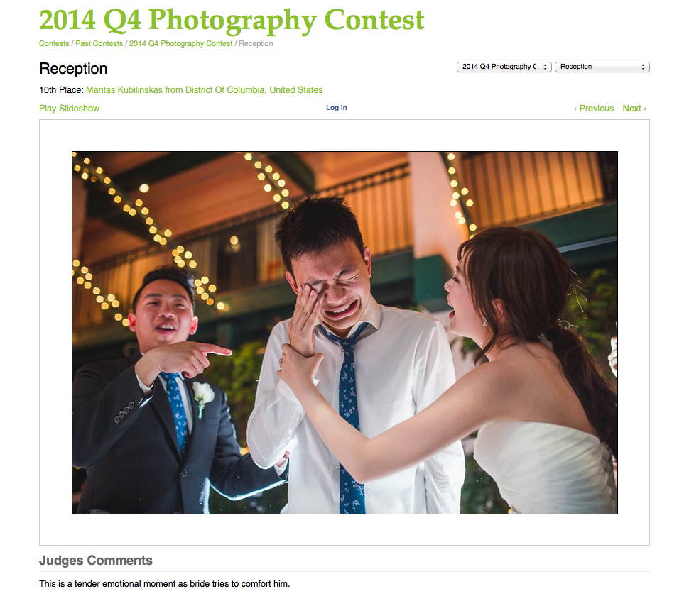 Wedding photojournalist association award