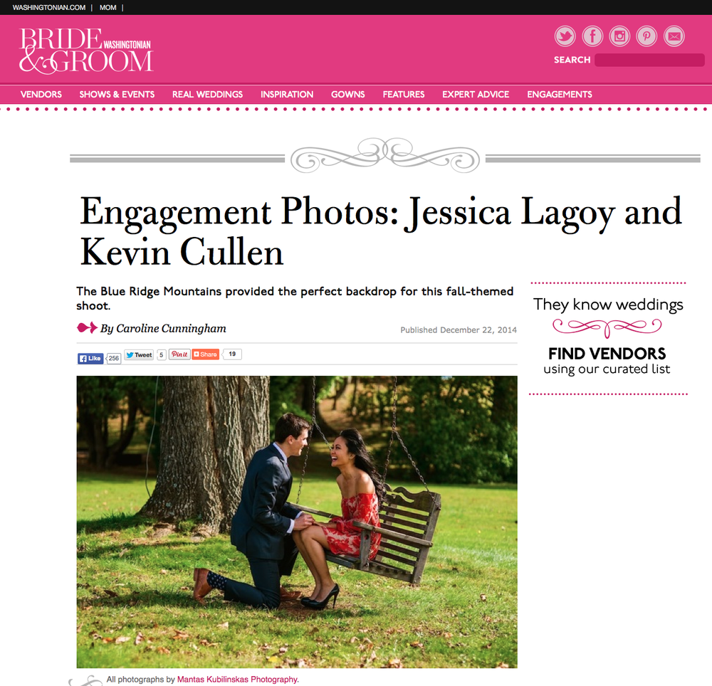 Wedding post on Washingtonian Magazine blog