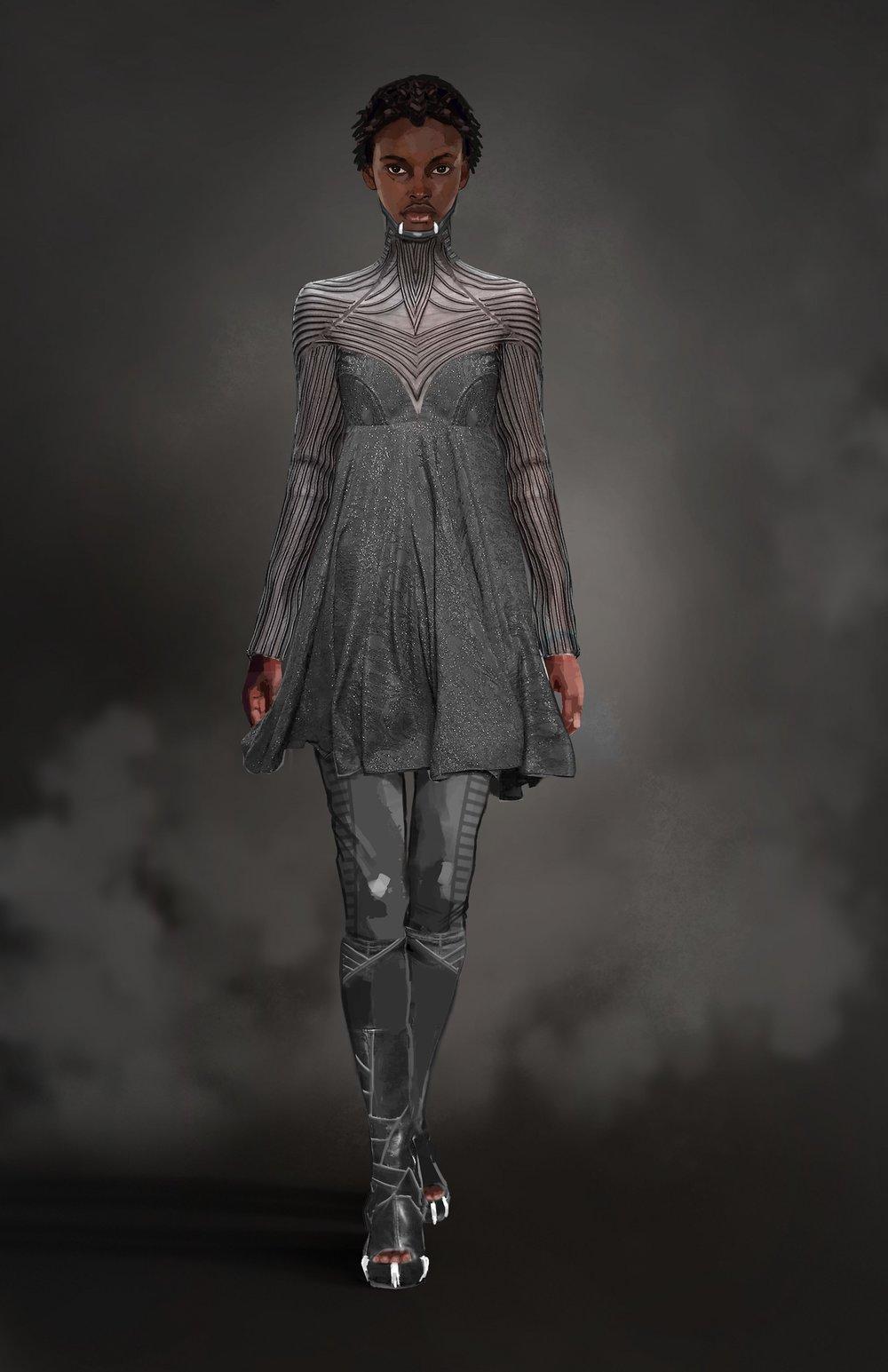 Shuri silver dress