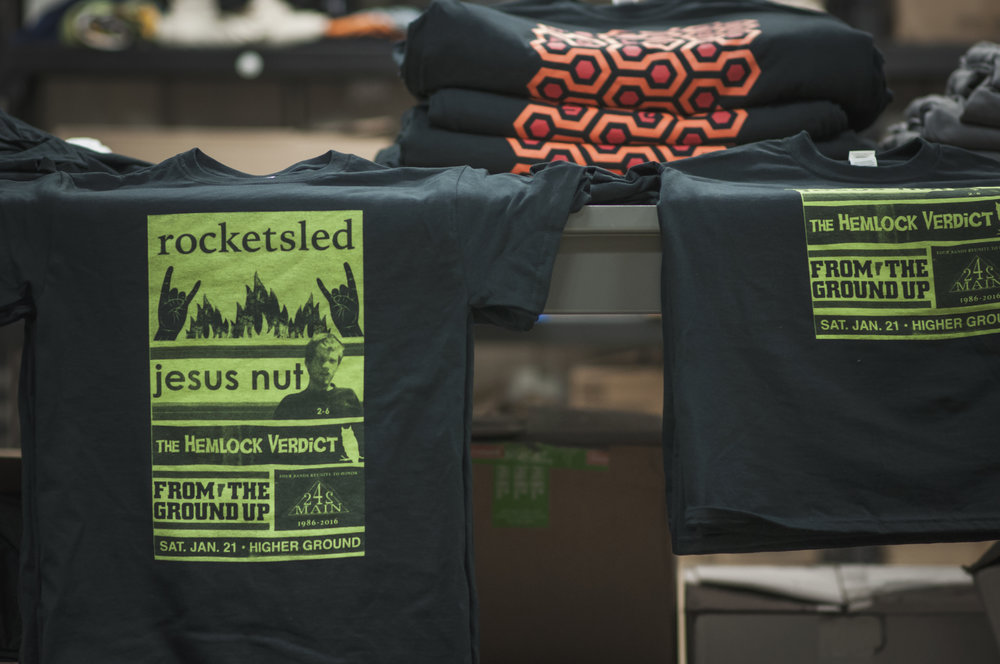 Shirts for 242 Main memorial show at Higher Ground
