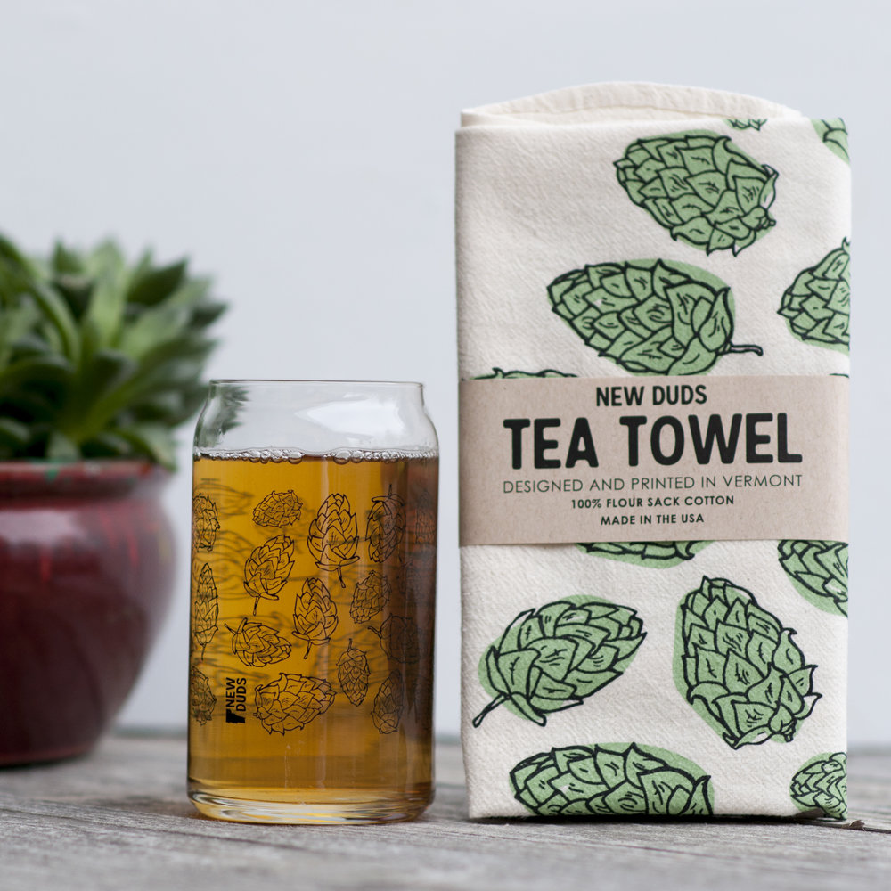 GTSHOP01 Glass and Kitchen Towel Set - Hops - $12 Gift box Includes one 16oz can shaped pint glass and one flour sack cotton tea towel.